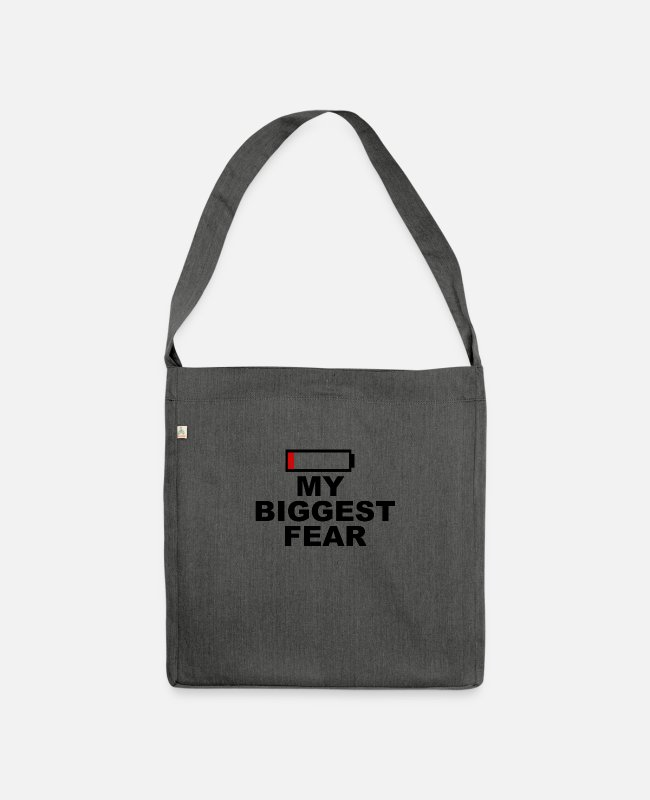 Empty Bags & Backpacks - Cell phone internet battery empty battery battery funny - Shoulder Bag recycled dark grey heather