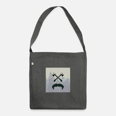 Glass Underwear Hipster responsibility beard glasses ax forest - Shoulder Bag recycled