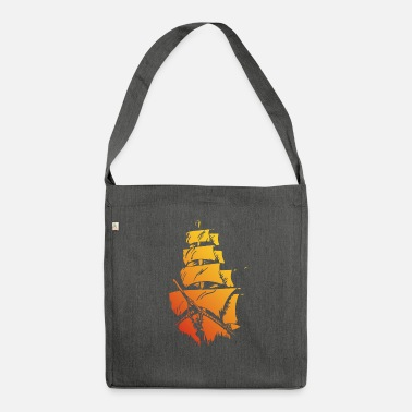 Pirate ship red yellow - Shoulder Bag recycled