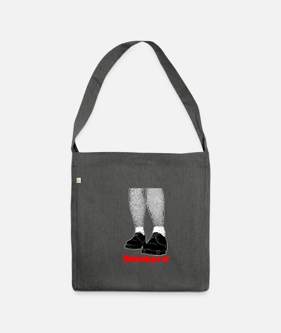 Ska Punk Bags & Backpacks - Skinhead Skinbyrd graphic | Rude Girl / Skingirl - Shoulder Bag recycled dark grey heather