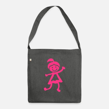 Childrens Drawing Girl children drawing 1401 - Shoulder Bag recycled