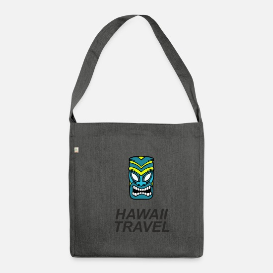 Travel Bags & Backpacks - Tiki Mask Hawaii Travel - Shoulder Bag recycled dark grey heather