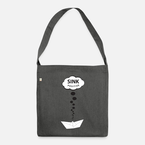 Gift Idea Bags & Backpacks - sink positive - think positive - think positive - Shoulder Bag recycled dark grey heather