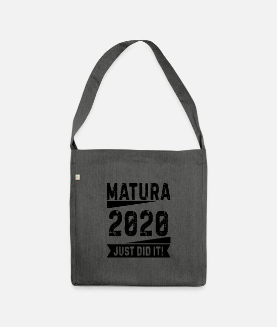 Party Bags & Backpacks - School graduation Matura saying 2020 gift - Shoulder Bag recycled dark grey heather