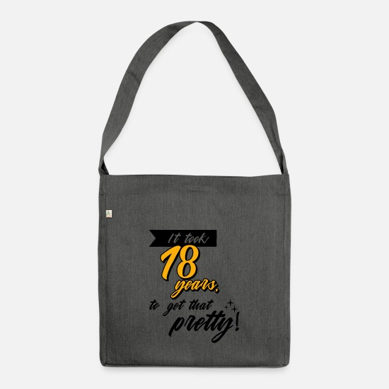 Birthday Bags & Backpacks - 18th birthday funny saying adult legal adult - Shoulder Bag recycled dark grey heather