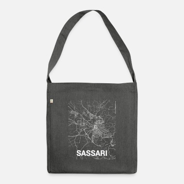 Set25 Sassari city map and streets - Shoulder Bag recycled
