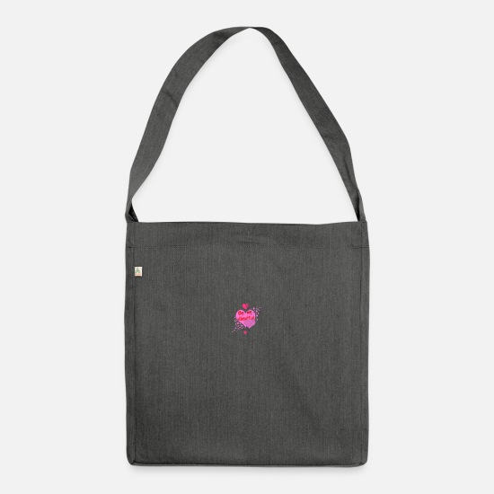 Love Bags & Backpacks - be my valentine heart valentines day - Shoulder Bag recycled dark grey heather