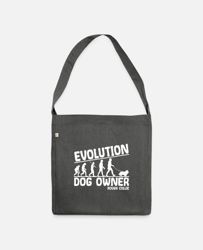Long Hair Collie Bags & Backpacks - Longhair Collie Dog Owners Evolution Funny - Shoulder Bag recycled dark grey heather