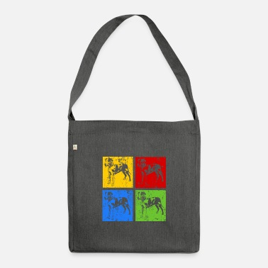 Male Puppy Dog Puppy Great Dane Pop Art Retro Grunge Silhouette - Shoulder Bag recycled