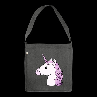 Unicorn head in lilac - Shoulder Bag made from recycled material