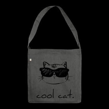 Cool cat cat kitten gift sunglasses - Shoulder Bag made from recycled material