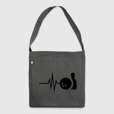 My heart beats for bowling - skittles Strike Pin - Shoulder Bag made from recycled material