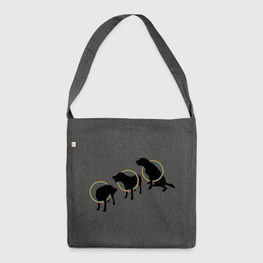 Hula Hoop Dogs black - Shoulder Bag made from recycled material
