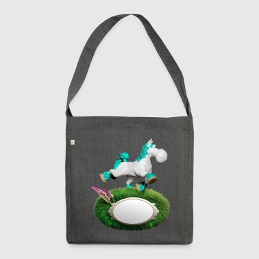 Pony cyan - Schultertasche aus Recycling-Material