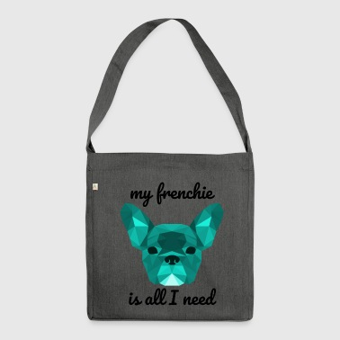 Low Poly Frenchie cyan - Schultertasche aus Recycling-Material