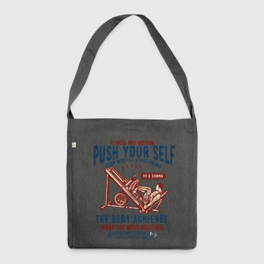 FITNESS AND MOTION - sports and fitness shirt design - Shoulder Bag made from recycled material