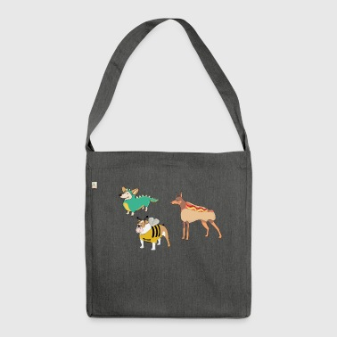 Lustige Hunde Hot Dog, Dogge Maja, Drachen Collie - Schultertasche aus Recycling-Material