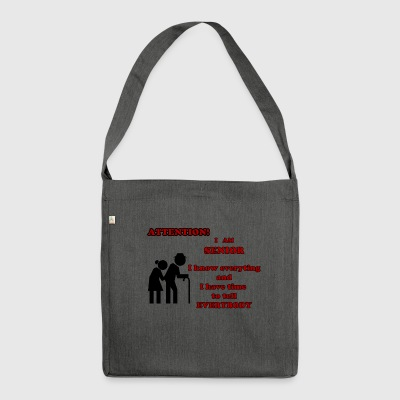 Achtung, Senior - Schultertasche aus Recycling-Material
