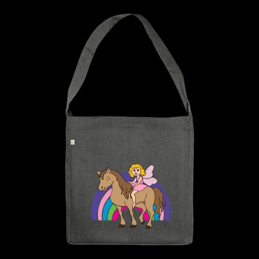 Horse Elf fairy fairy tale rainbow crown - Shoulder Bag made from recycled material