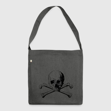 Skull with crossbones in black - Shoulder Bag made from recycled material