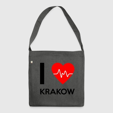 J'aime Cracovie - I love Cracovie - Sac bandoulière 100 % recyclé