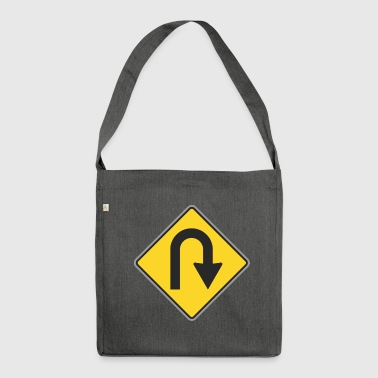 Road Sign way back yellow - Shoulder Bag made from recycled material