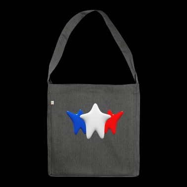 Stars in blue, white and red - Shoulder Bag made from recycled material