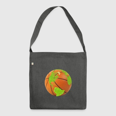 basketball earth planet globe erde globus - Schultertasche aus Recycling-Material