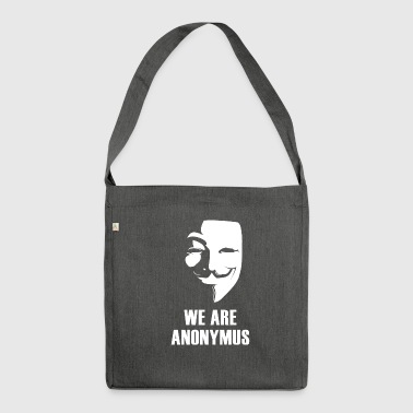 anonymus mask anti Demo politically white.Face - Shoulder Bag made from recycled material