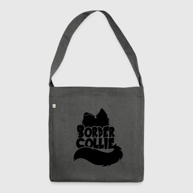 Silhouette Border Collie - Black - Shoulder Bag made from recycled material