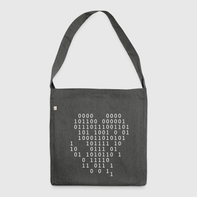 binary broken heart - Shoulder Bag made from recycled material