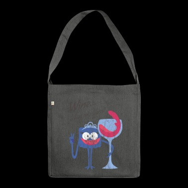 WINE ... A HUG IN A GLASS - cartoon character cartoon character - Shoulder Bag made from recycled material