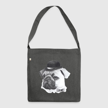 Mops mit Bowler - Schultertasche aus Recycling-Material