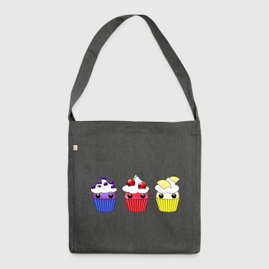 Three kawaii cupcakes blueberry cherry lemon - Shoulder Bag made from recycled material