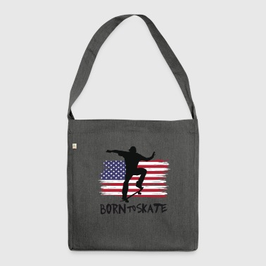 born to skate skateboard america flag destroyed 21 - Schultertasche aus Recycling-Material