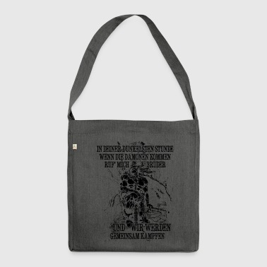 In your darkest hour call me! (dark) - Shoulder Bag made from recycled material
