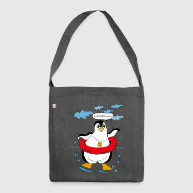Penguin, illustration - Shoulder Bag made from recycled material