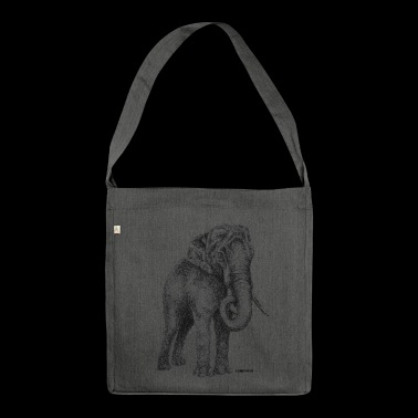 Scribbled Elephant - Shoulder Bag made from recycled material