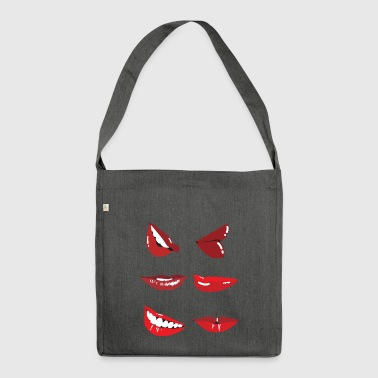 kiss mouth - Shoulder Bag made from recycled material