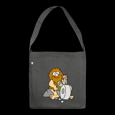 Stone Age man. gift idea - Shoulder Bag made from recycled material