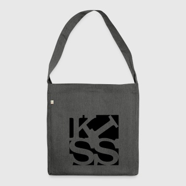 kiss homage to Robert Indiana black outside - Shoulder Bag made from recycled material