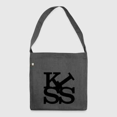 kiss homage to Robert Indiana Kiss black inside - Shoulder Bag made from recycled material