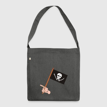 Piratenflagge - Schultertasche aus Recycling-Material