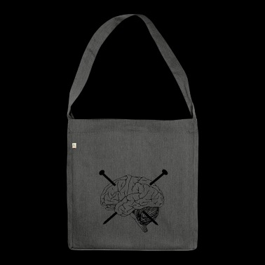 brain, nails, nail, drawing - Shoulder Bag made from recycled material