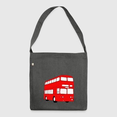 british ,bus,doppelbus,england - Schultertasche aus Recycling-Material