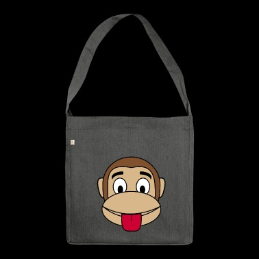 Monkey cheeky tongue stick out - Shoulder Bag made from recycled material