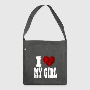 i love my girl girlfriend say heart love - Shoulder Bag made from recycled material