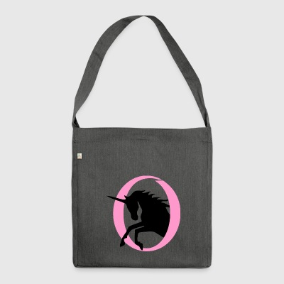 Unicorn jumps out of a circle in two colors - Shoulder Bag made from recycled material