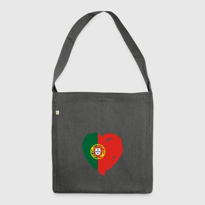 Portugal flag heart gift shirt - Shoulder Bag made from recycled material
