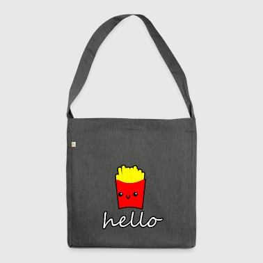 doodle fries hello cute anime style - Schultertasche aus Recycling-Material